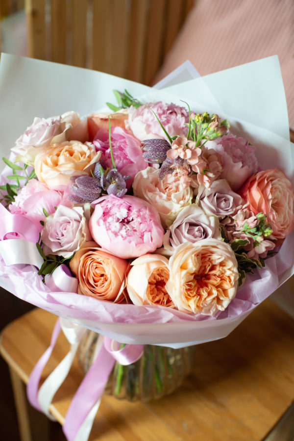 FSM Peony and Garden Rose Bouquet Chicago Flower Delivery